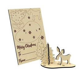 3D Wooden Christmas Card
